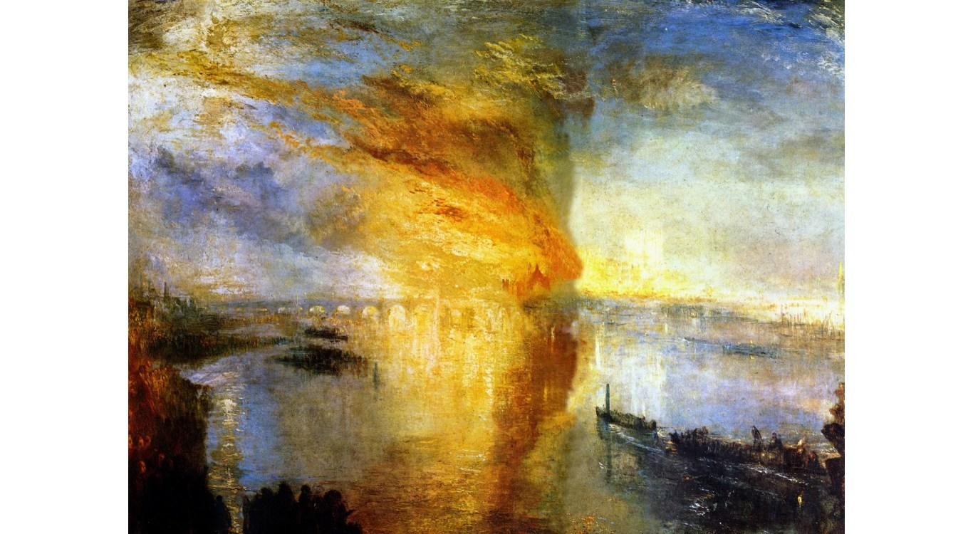 Il dipinto del 1835: L'Incendio delle Camere dei Lord e dei Comuni di William Turner
