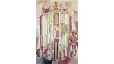 Il dipinto del 1955 - Cattedrale con suonatore di tromba di Franco Gentilini