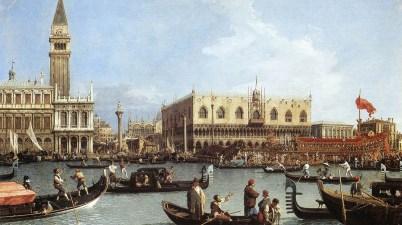 """Il dipinto del 1730 - """"Il Bucintoro al molo nel giorno dell'Ascensione"""" di Canaletto"""