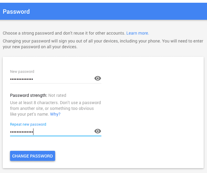 Enter the new password Gmail
