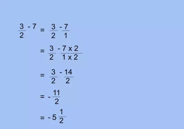 How to subtract a whole number from a fraction