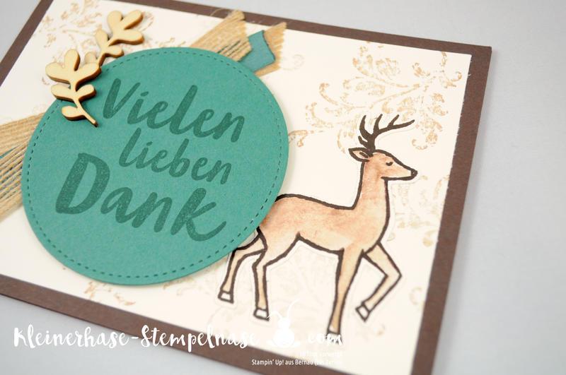 Stampin Up Bernau Berlin Hirsch Flaschenanhänger Danke Zum Dank Weihnachtsschlitten Timeless Textured Stickmuster 4