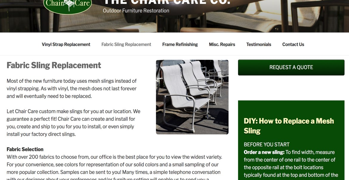 The Chair Care Company Website