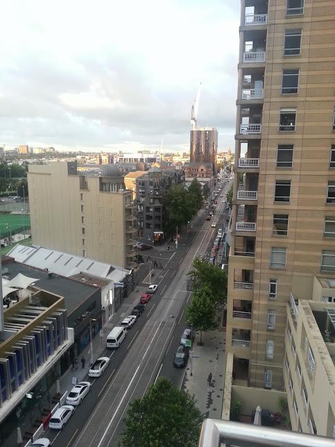 Vista da janela do trabalho do Diego em South Yarra.