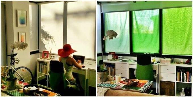 Antes de depois das cortinas que fiz pro meu escritório. No verão, o sol batia feroz nas janelas e eu tinha que usar chapéu e óculso escuros pra trabalhar no computador. Comprei tecidos de algodão e fiz as cortinas com fita adesiva pra tecidos. E comprei tubos de pressão pra não precisar furar a moldura da janela. Incrível a diferença que fez, o tecido de algodão bloqueou o sol sem escurecer o ambiente.