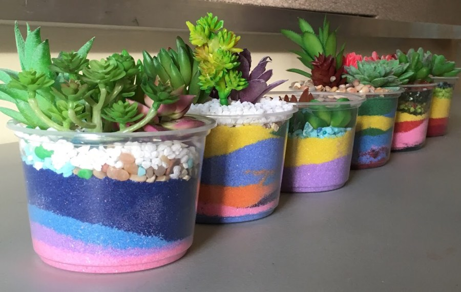 Six sand succulent bowls decorated by children and parents at the Tully Branch Library.