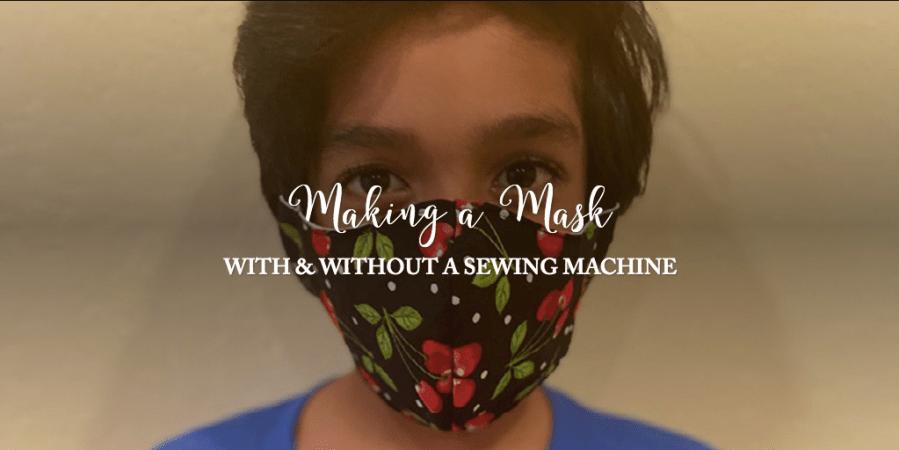 Taran Kollu (5), Alta Vista Elementary, wears a mask made with a sewing machine.