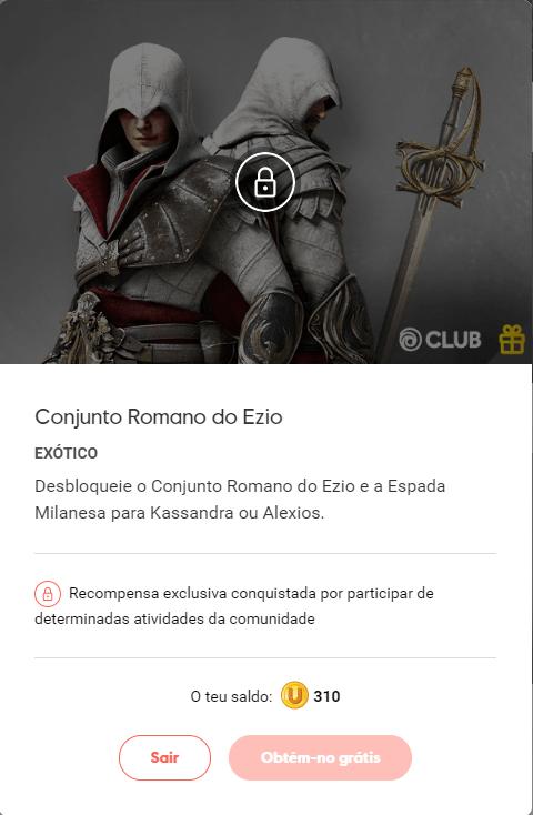 Roupa do Ezio no Assassins Creed Odyssey