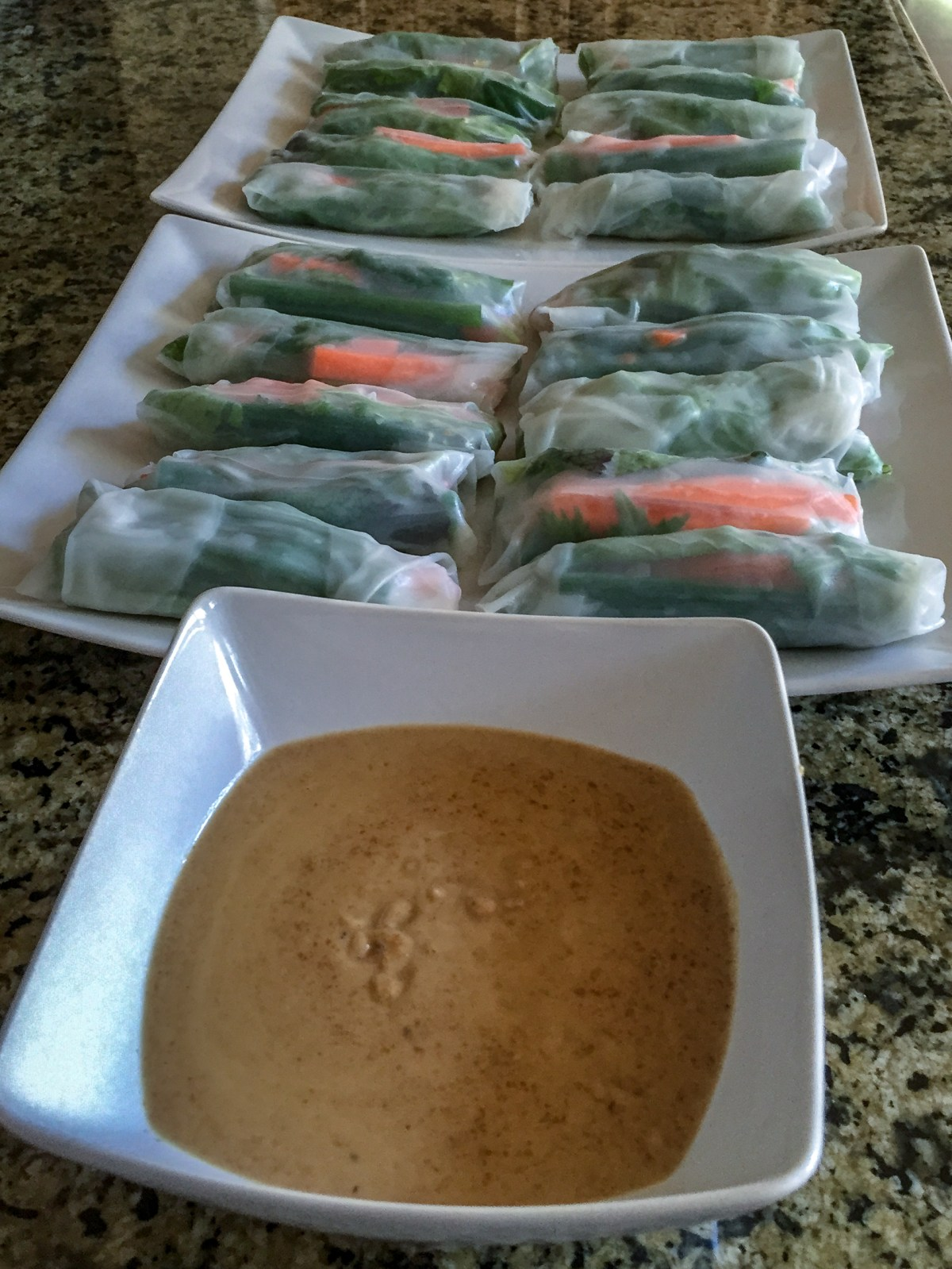 Finished veggie spring rolls and peanut sauce from front