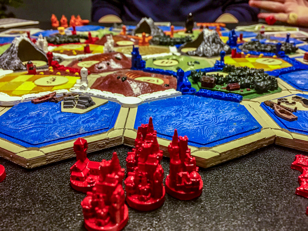 3D-Printed Settlers of Catan close up