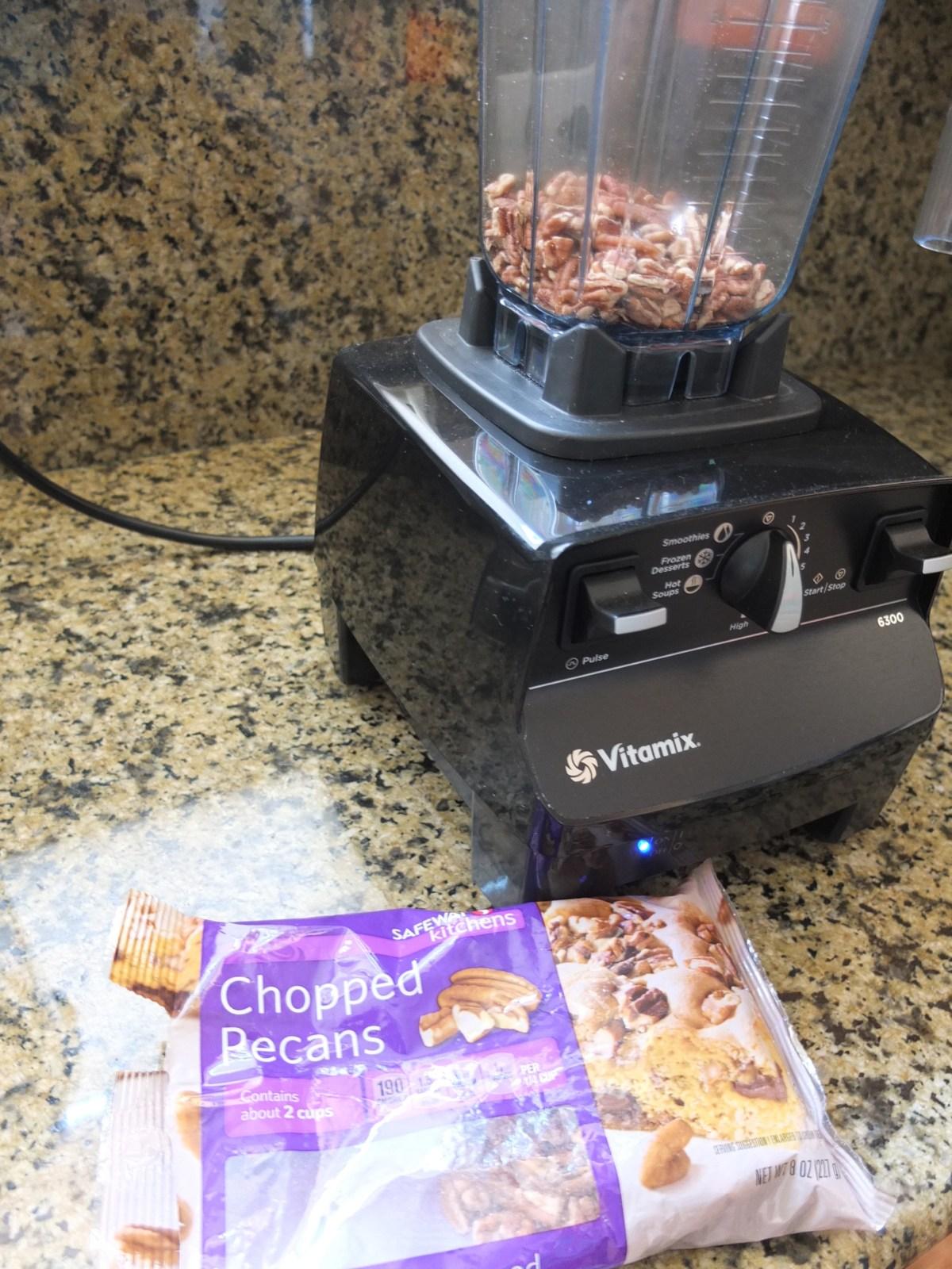 Grinding pecans for Sesame and Pecan Schnecken Rolls with Orange Glaze