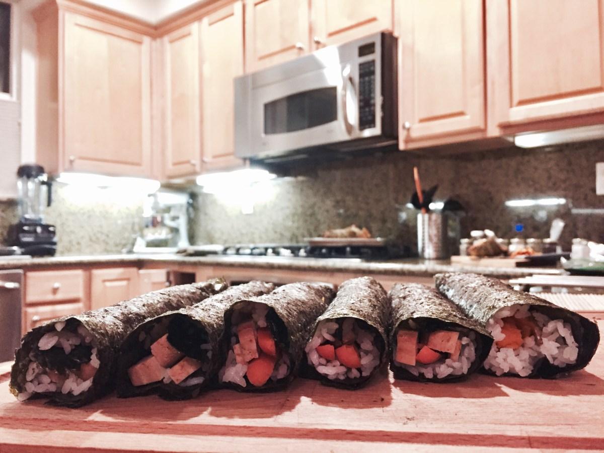 Teriyaki Tofu and Veggie Sushi rolls before cutting