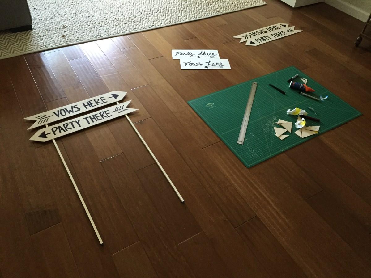 Workspace for DIY Wedding Sign