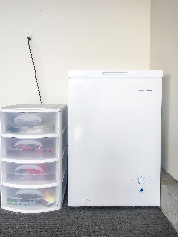 closed Insignia 3.5 Cu. Ft. Chest Freezer in Garage