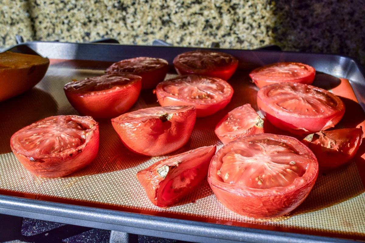 Oven roasted tomatoes for Egg-White Chili Shakshuka