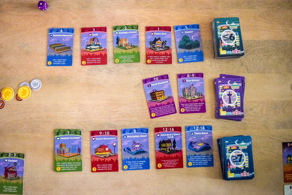 Central card stacks for playing Machi Koro: Bright Lights, Big City from top