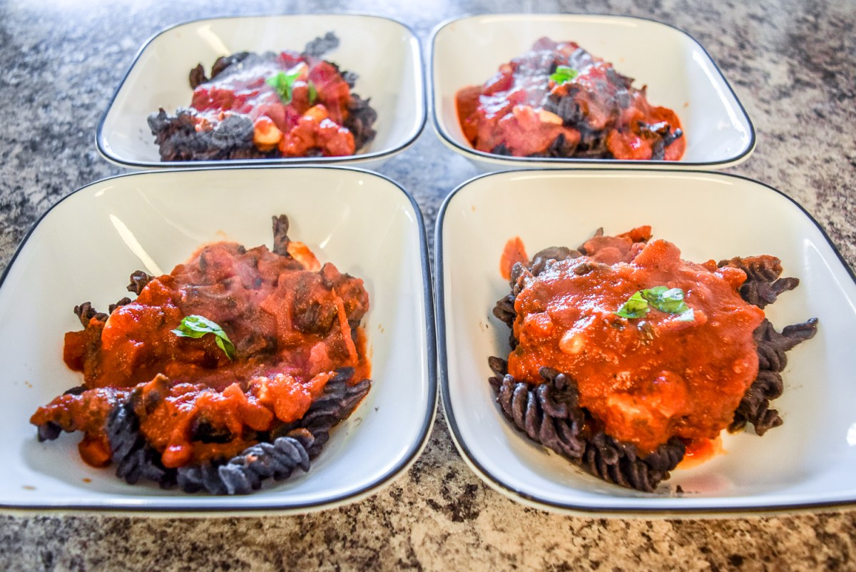Hearty Black Bean Pasta with Marinara and Trader Joe's Organic Black Bean Rotini from front