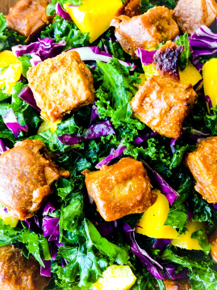 Kale Salad with Peanut Tempeh