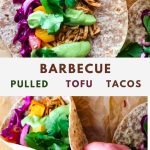 a graphic for pinterest showing two bbq tofu tacos with green citrus avocado sauce, grapefruit cabbage slaw, and roasted butternut squash.