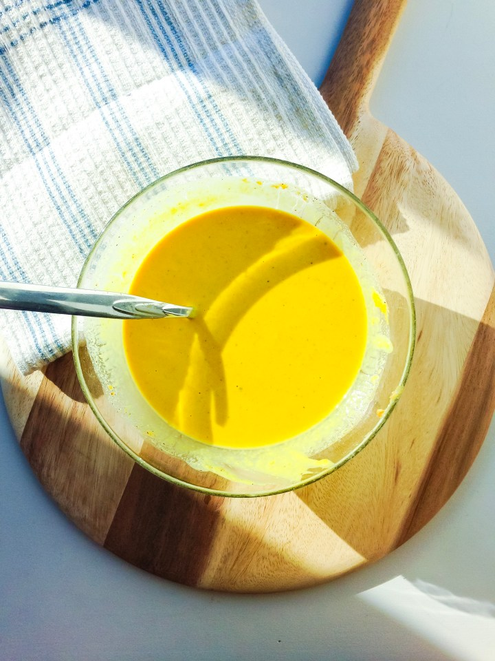 A turmeric tahini sauce to go with vegan macrobiotic bowls.