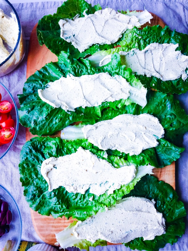 Raw Romaine Taco Boats with Tofu Ricotta laid out on a serving platter.