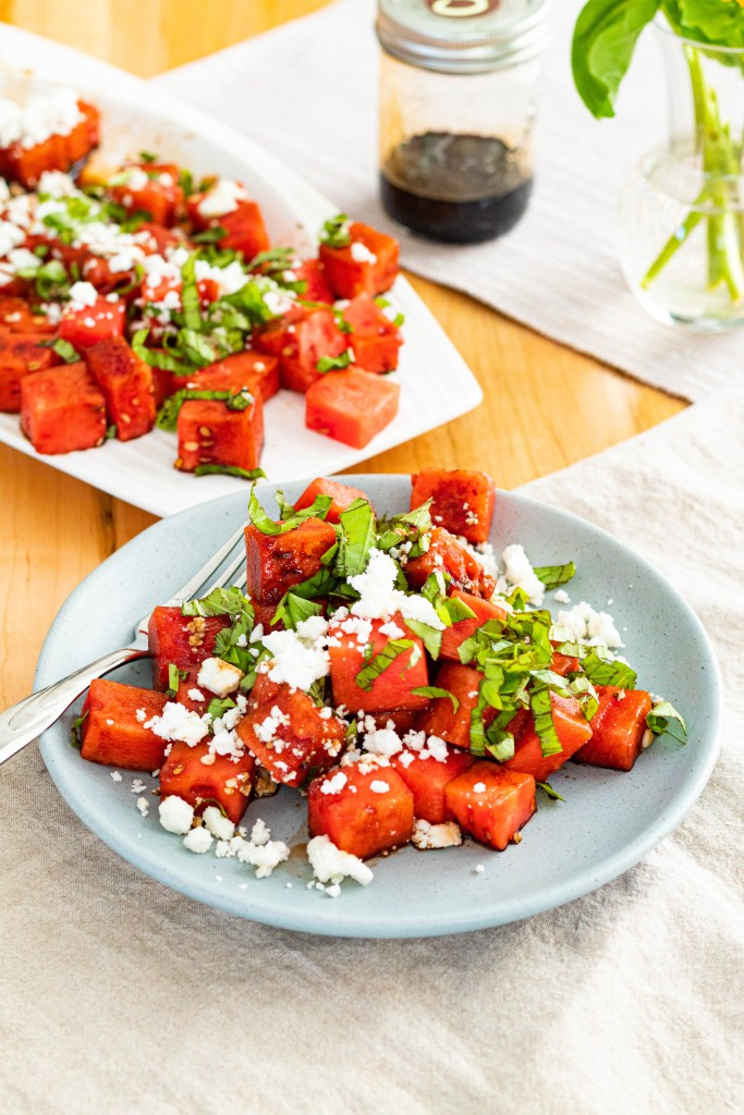 Watermelon, Feta, and Basil Salad with Balsamic Reduction: A super summer salad made with farmer's market bounty!