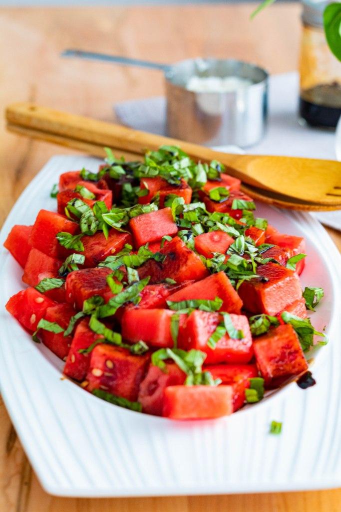 BURSTING Watermelon Basil Salad with Balsamic Reduction