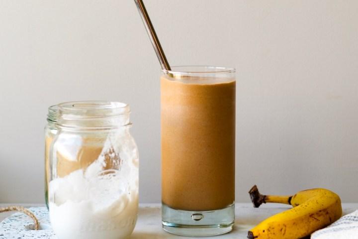 Espresso, almond butter, maca protein smoothie