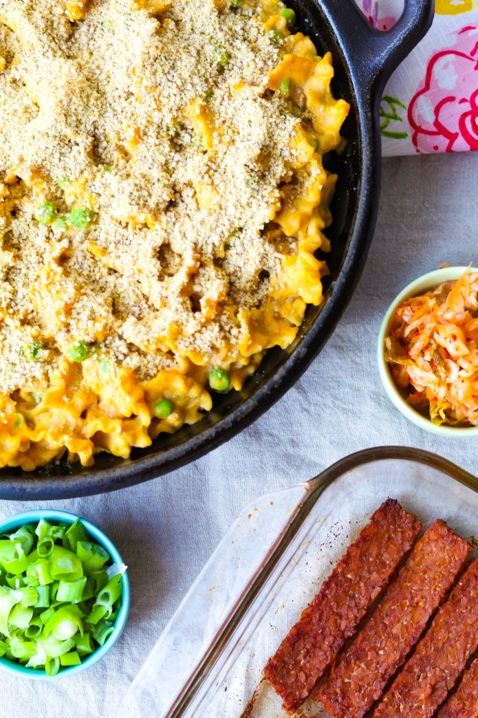 Nut Free Vegan Mac and Cheese with Tempeh Bacon | UpBeet Kitchen