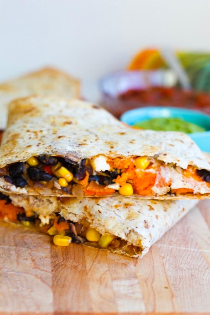 Sweet Potato, Corn, and Black Bean Quesadillas with Feta