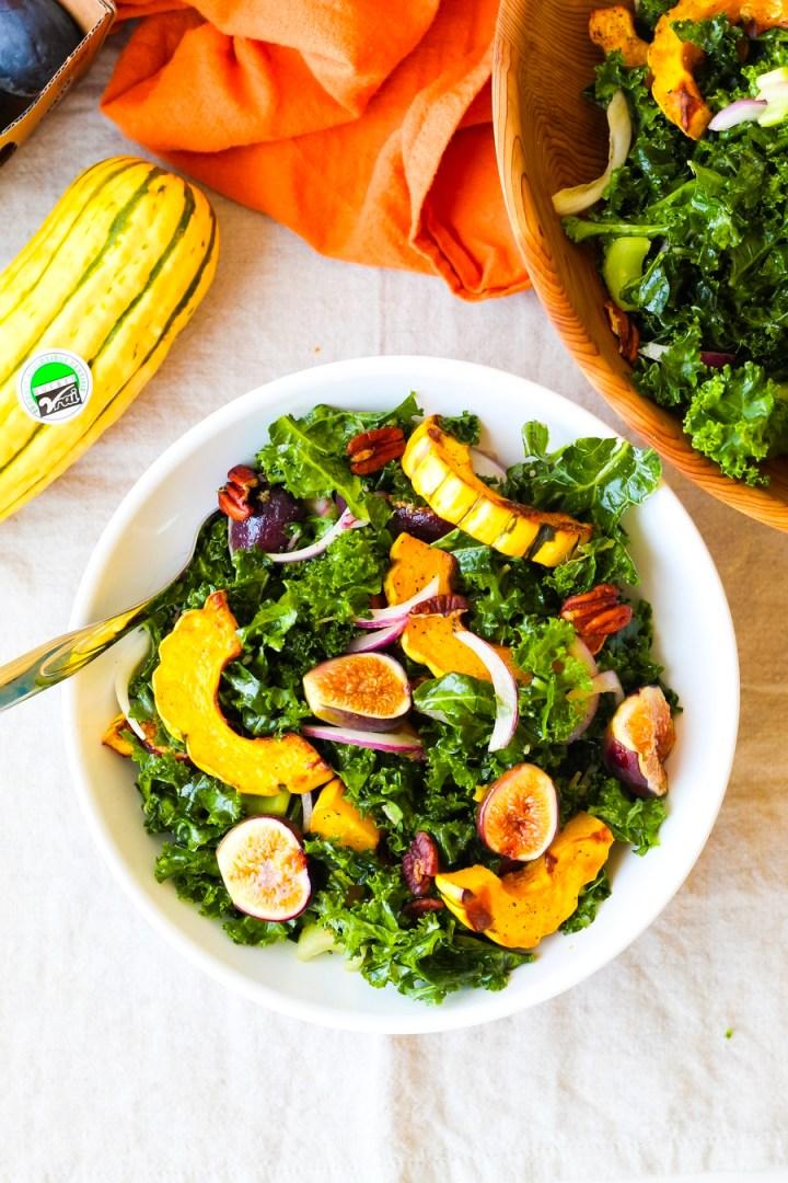 Vegan Delicata Squash, Fig, and Pecan Kale Salad