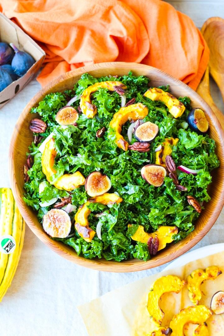 Roasted Delicata Squash and Fig Kale Salad