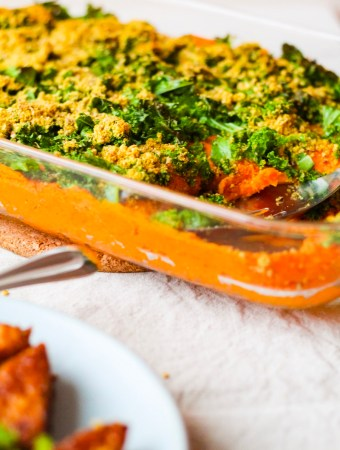 Healthy Vegan Sweet Potato Casserole with Crispy Kale and Pecan Parmesan