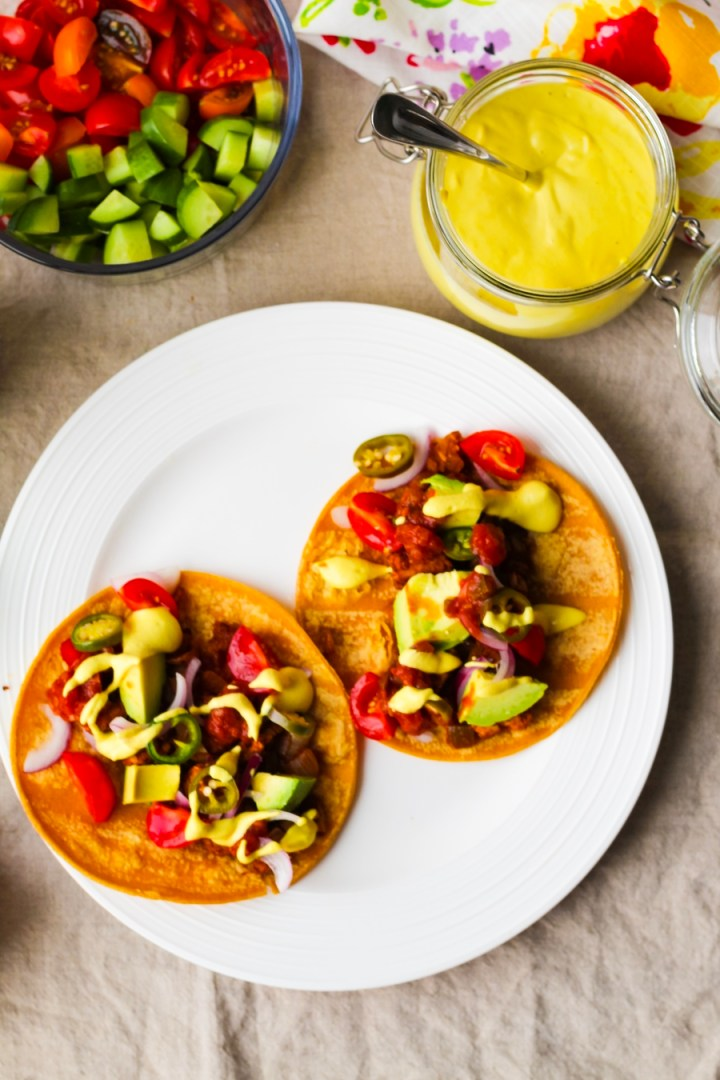 Tempeh Tacos with Cashew Queso