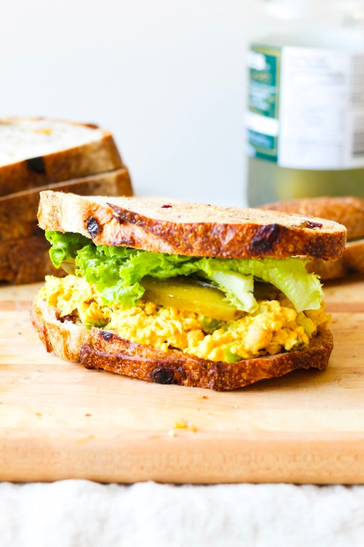 Vegan Curried Chickpea Salad Sandwich with Tahini Yogurt Dressing