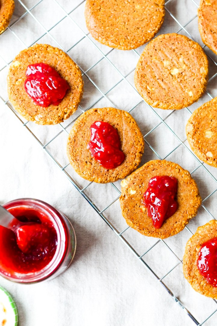 Vegan Peanut Butter and Jam Sandwich Cookies // OIL-FREE, SWEETENED WITH COCONUT SUGAR