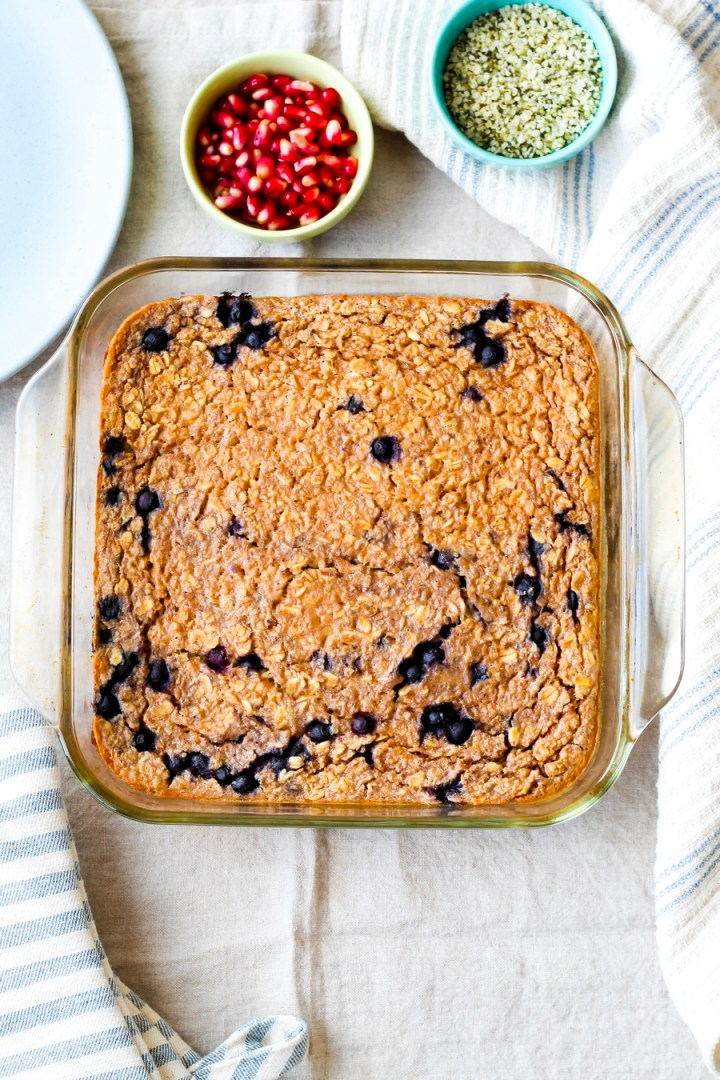 Vegan Peanut Butter Banana Baked Oatmeal in baking dish