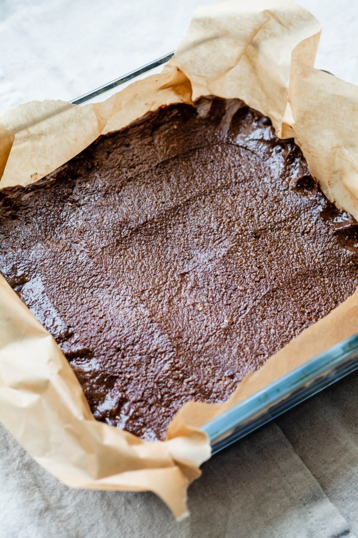 Vegan Pumpkin Spice Almond Butter Brownie in a pan before baking