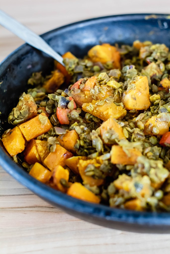 Vegan Butternut Squash and Lentil Roti Recipe: Lentil Squash mixture in skillet