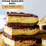 a stack of three nanaimo bars with the title of the recipe