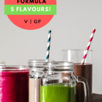 a straight on shot of four of the five smoothies with the title of the recipe for pinterest
