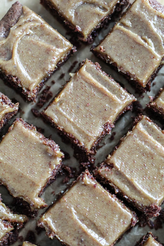 an overhead shot of the oat flour brownie sliced into squares