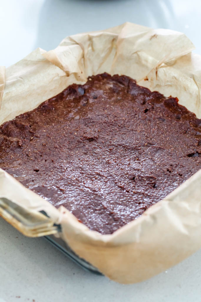 the brownie in the pan before it bakes.