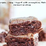 two brownies stacked on top of each other, this is a pin for pinterest