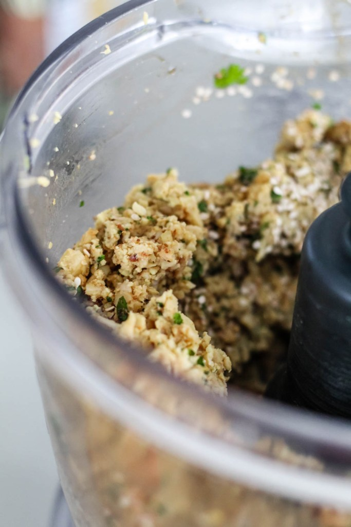 shot of the meatball mixture in the food processor