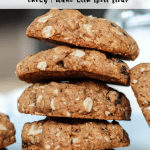 stack of cookies on a bluewith title text for pinterest plate