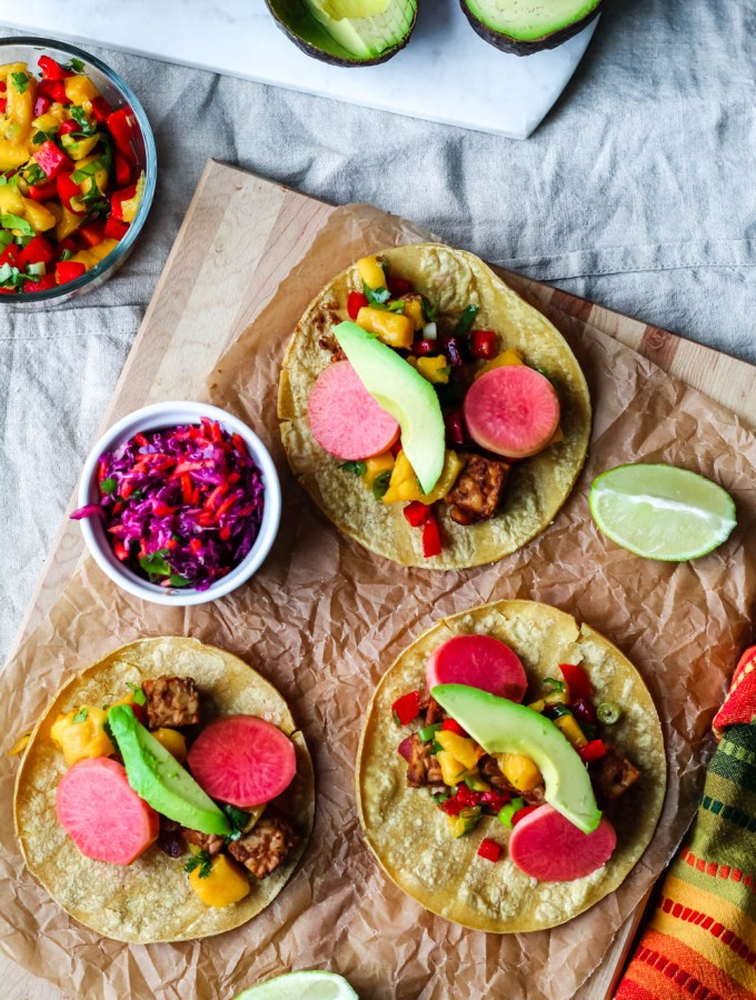 overhead shot of three barbecue tempeh tacos to be used as a featured image for the post