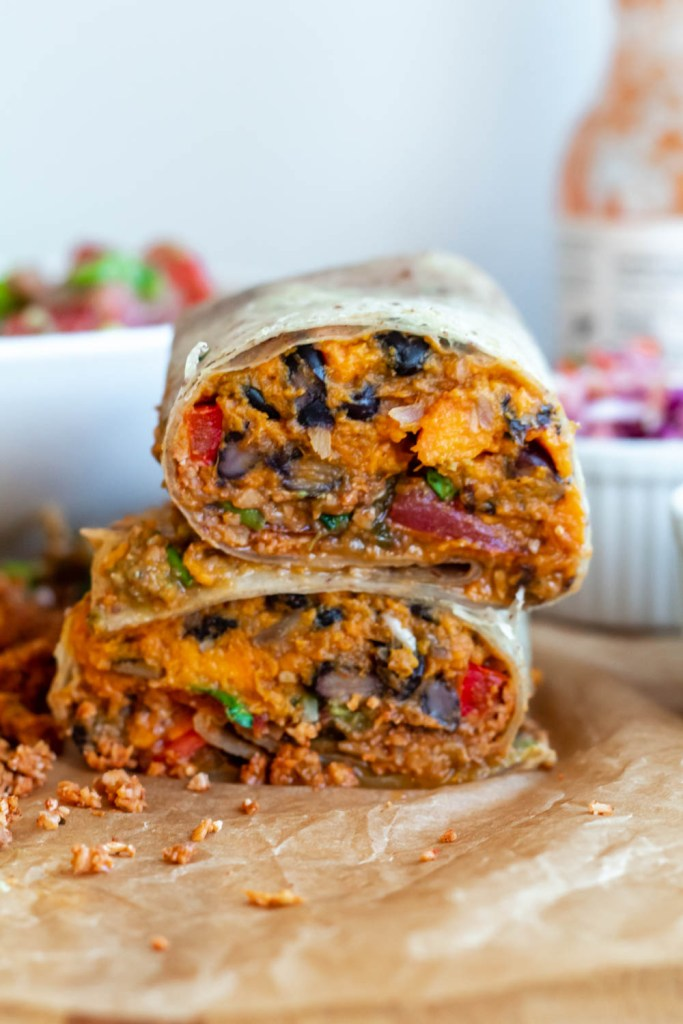 straight on shot of the black bean sweet potato burritos