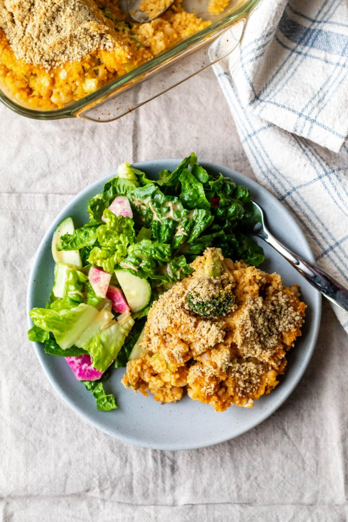 featured image for the post showing a plate of the bake with a side lettuce salad