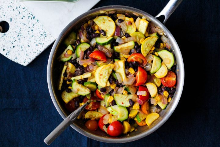 overhead shot of the sautéed veggies in a skillet